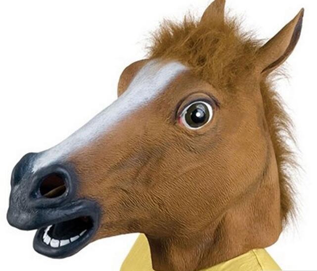 Horse Head Maska Creepy Kürk Mane Lateks Həqiqi Maska Tam Üz - Şənlik aksesuarları - Fotoqrafiya 4