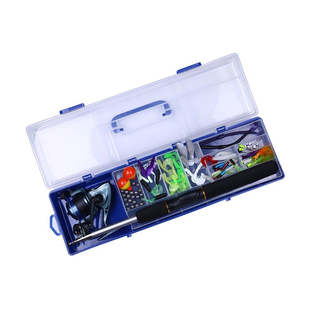 HENGJIA Fishing kit Include Soft Bait Spinning Fishing Rods Reels Hooks Casting Travel Fishing Lure Box