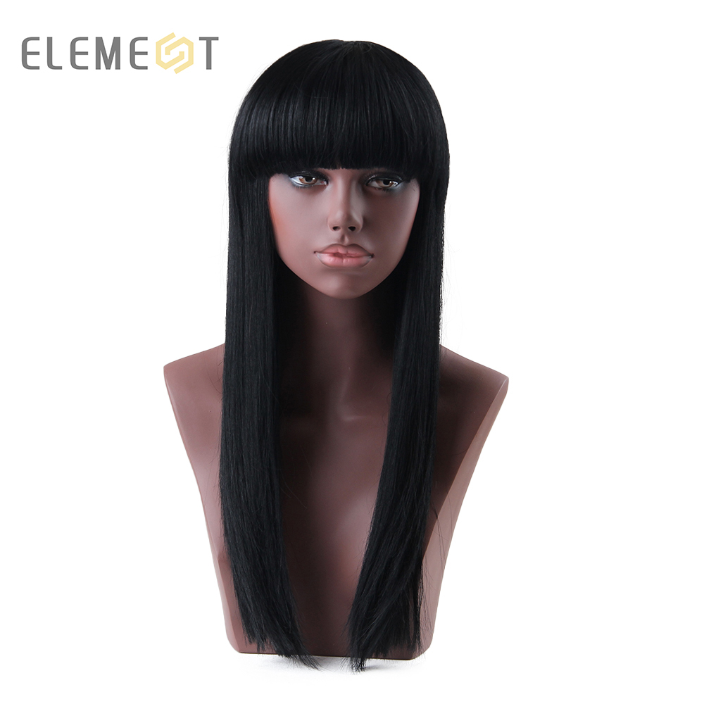 Élément 28 pouce Long perruque Sexy synthétique droite couleur noire mélange 50% cheveux humains perruques sans colle pour les femmes noires perruque casquette incluse
