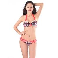QSKK 2016 Beach Wear Women Bikinis Brazilian Vintage Striped Bikini Set Halter Swimsuit Bandage Swimwear Push