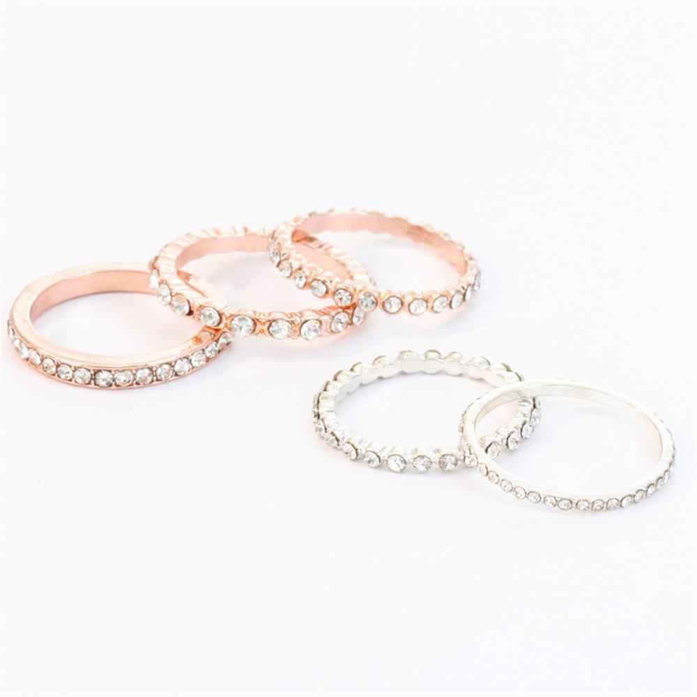 5ชิ้น/เซ็ตวินเทจS Parkly Rose GoldคริสตัลRhinestoneวางซ้อนกันได้แหวนสำหรับผู้หญิงเครื่องประดับจัดงานแต่งงาน