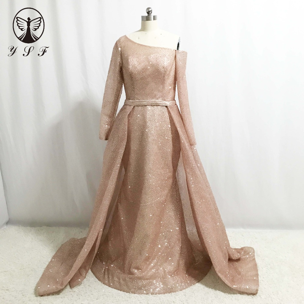 Us 1690 Best Selling Prom Dresses Rose Gold One Shoulder Bling Bling Long Sleeve Mermaid Vestidos De Formature With Overskirt In Prom Dresses From