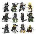 12 ШТ. Городской полиции Swat команды CS Коммандос Армии солдат с Оружием Пушки Строительные Блоки, которые Поддерживаются Legoe Военные Игрушки