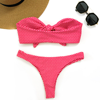 PLAVKY 2018 Sexy White Dot Bandeau Biquini Front Bow Knot Tie Swim Bathing Suit Swimsuit Swimwear Women Brazilian Bikini 1