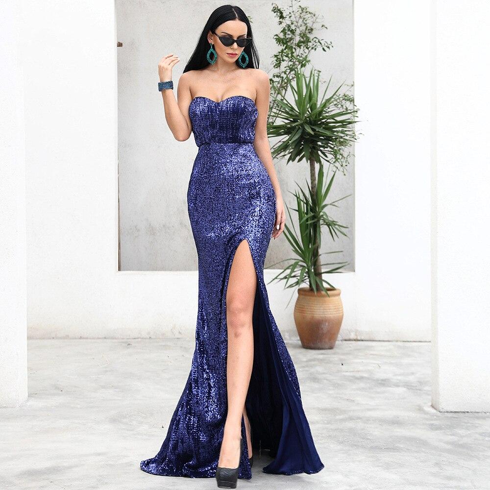 champagne Bleu Mode De Paillettes Vintage Femmes Celebrity Soirée Élégant Haute Longue Robe Robes Sexy Fente Club Sans Bretelles Night Longues 44PxHFOqUw
