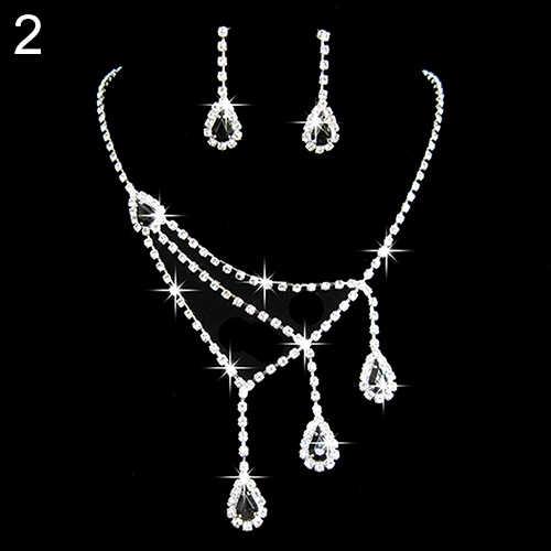 Женский Хрустальный кубический цирконий кулон ожерелье люстра серьги свадебный подарочный набор ювелирных изделий Мода