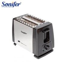Tostadora automática de acero inoxidable de 2 rebanadas, tostadora de pan de calentamiento rápido, máquina de desayuno doméstica Sonifer