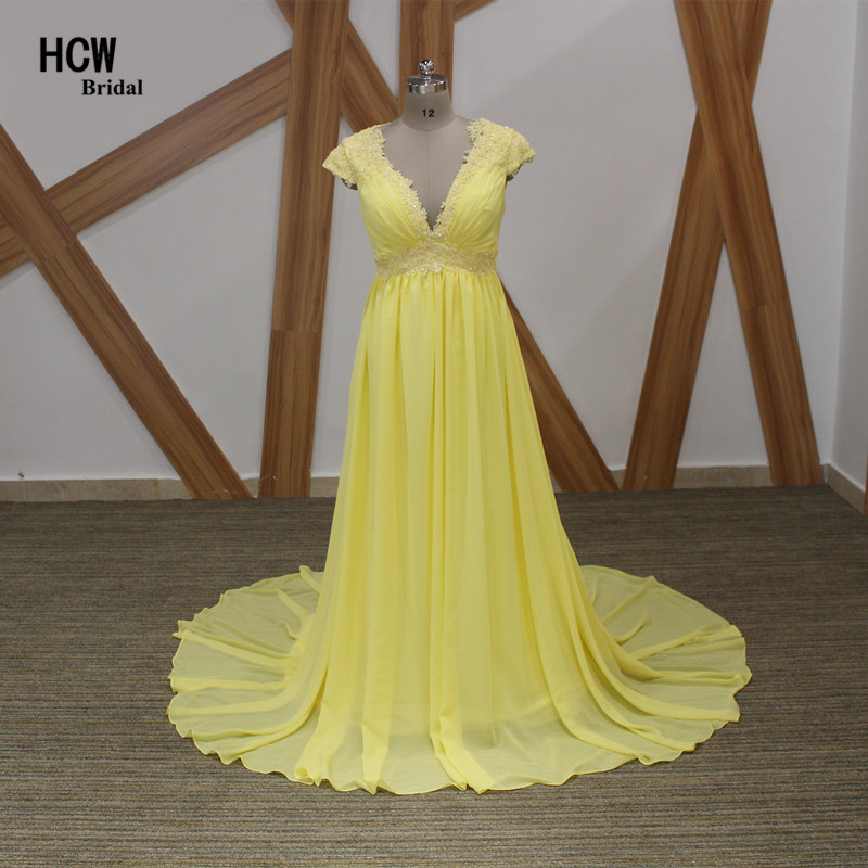 Light Yellow Long Evening Dress Empire Deep V Neck A Line Appliques Chiffon Pregnant Women Evening Dresses Robe De Soiree Cheap