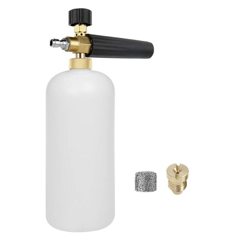 Lanzador de espuma de nieve, Cañón de espuma, filtro de malla de fabricante de espuma, boquilla de orificio boquilla generadora de espuma, ajuste de lavado de coche Adaptador para boquilla de espuma/Cañón de espuma/generador de espuma/vaporizador de jabón de alta presión para Karcher K2 K3 K4 K5 K6 K7 lavadora a presión