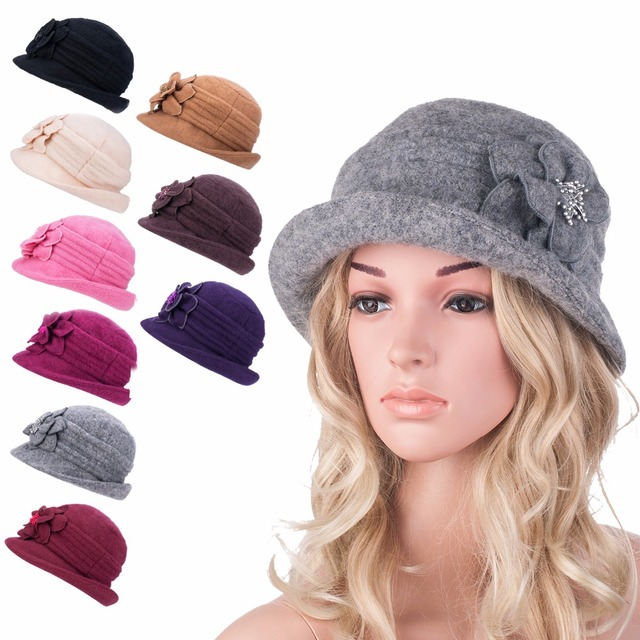 A299 2016 New Gatsby style 1920s Elegant Winter Wool Cap Beret Cloche Bucket Hat Skillies and Beanies for Women and  Lady