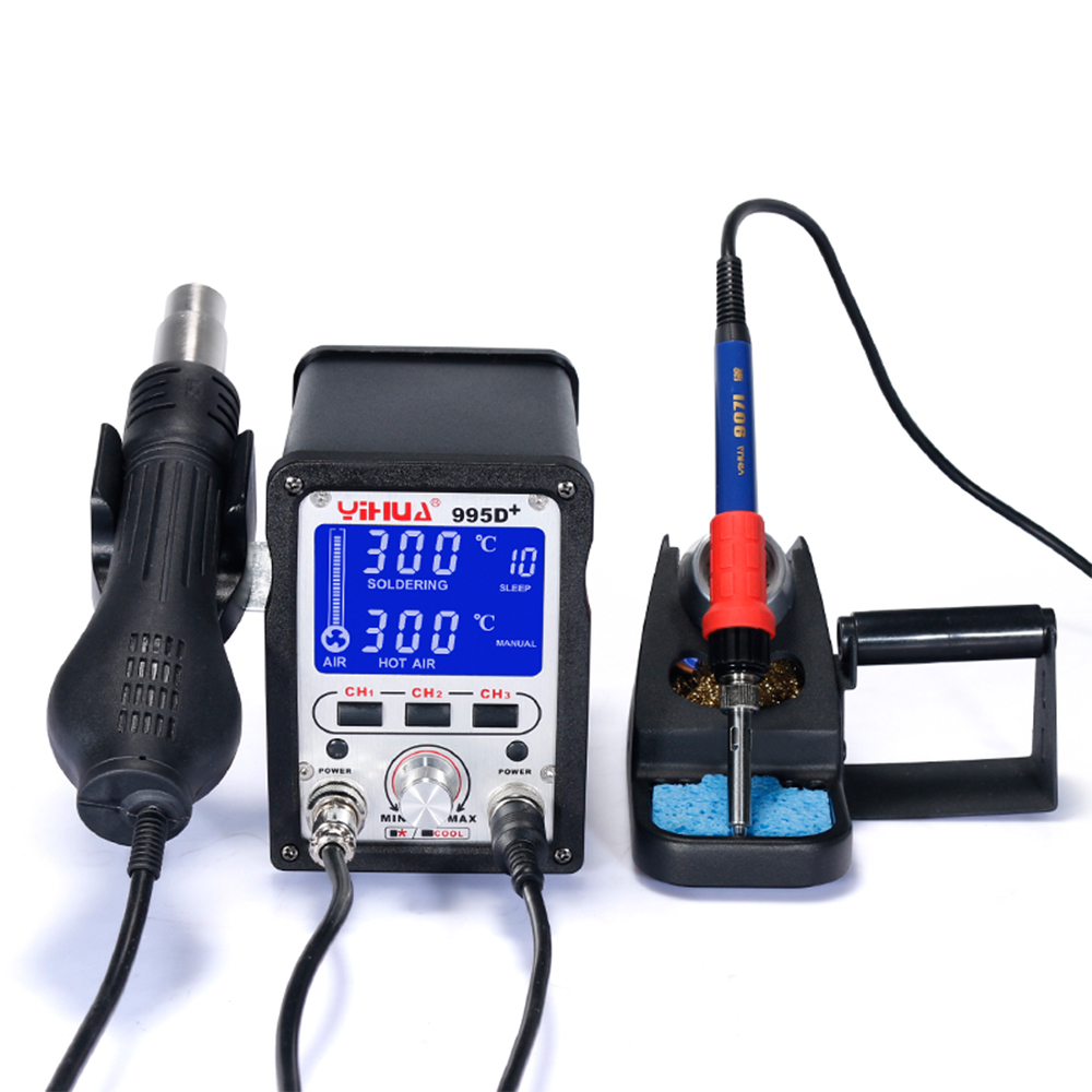 free delivery 995D+ Desoldering Iron Station With Pluggable Hot Air Gun Soldering Station For Soldering Tools