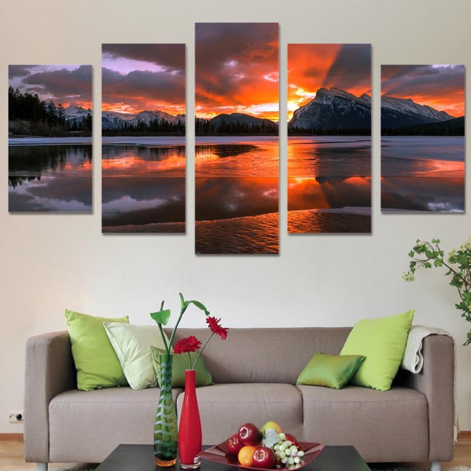5 Unids/set Enmarcado HD Impreso Cielo Montaña Sunset Wall Art ...