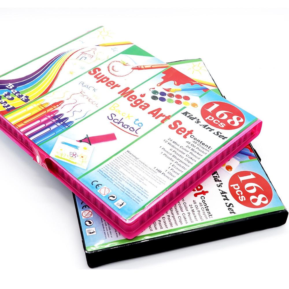 Купить с кэшбэком 168pcs Drawing Art Set School Painting Pen Marker Watercolor Brush Pen For Kids Gift Box Art Supplies