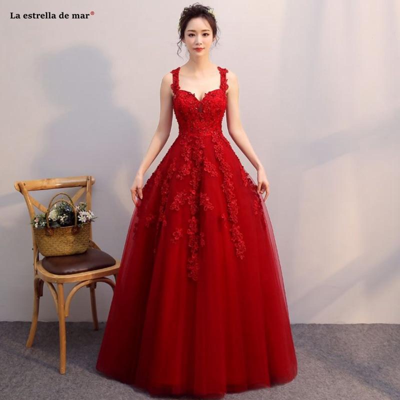 Vestidos de boda invitados2019 new tulle lace beaded sexy V neck A Line vintage Burgundy   bridesmaid     dresses   long bruidsmeisjes