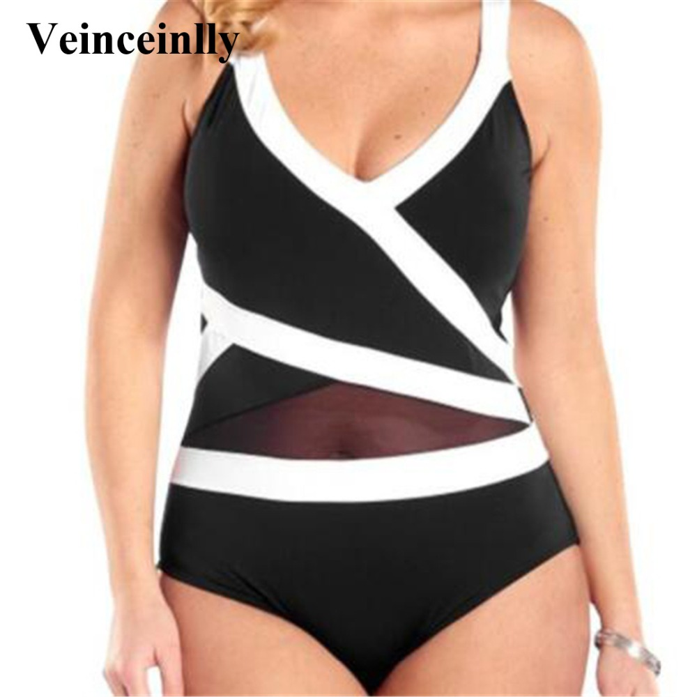 L-6XL Plus size Swimwear Women 2018 New Bathing suit Sexy large size one piece Swimsuit Solid Beachwear Monokini Bather Y181