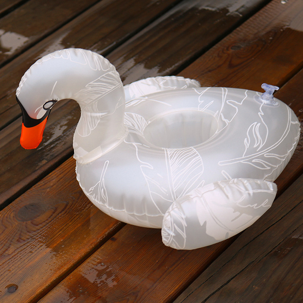 1Pcs New Unicorn White swan Inflatable Cup Holder Beer Drink Cup Holder Swimming Pool Summer Theme Party Supplies