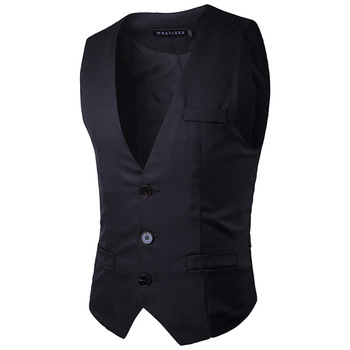 Wedding Suit Vests Men 2017 Spring New Single Breasted Business Mens Vests and Waistcoat Casual Slim Fit Party Gilet Homme Black