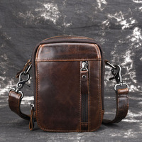 New Men S Oil Wax Genuine Leather Fanny Waist Bag Cell Mobile Phone Coin Purse Pocket