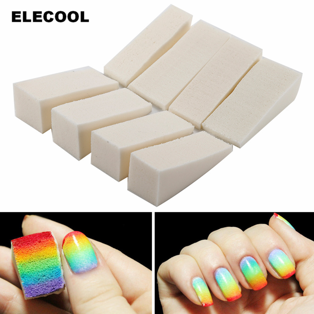 ELECOOL 8Pcs  Soft Triangle Nail Art Polish Gel Gradient Color Stamp Sponge Stamping Manicure Sponge Image Makeup Replacement