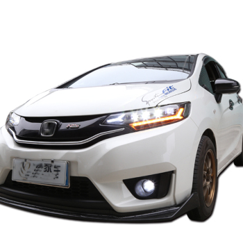 ALL LED Car lamp for Headlights 2014 2015 2016 2017 head light For Honda Fit Jazz Headlamp GK5 DRL HI LO beam car accessories