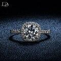 Cuadrado de la vendimia blanco 585 de oro plateado para las mujeres anillos de compromiso joyería de la Boda de lujo CZ diamond anillo aneis bijoux bague DD035