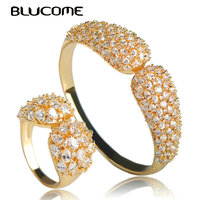 Blucome Dubai Gold Color Bangle Ring Jewelry Set Shiny Zircon Copper Sets For Women Wedding Banquet Party Hand Accessories Gifts