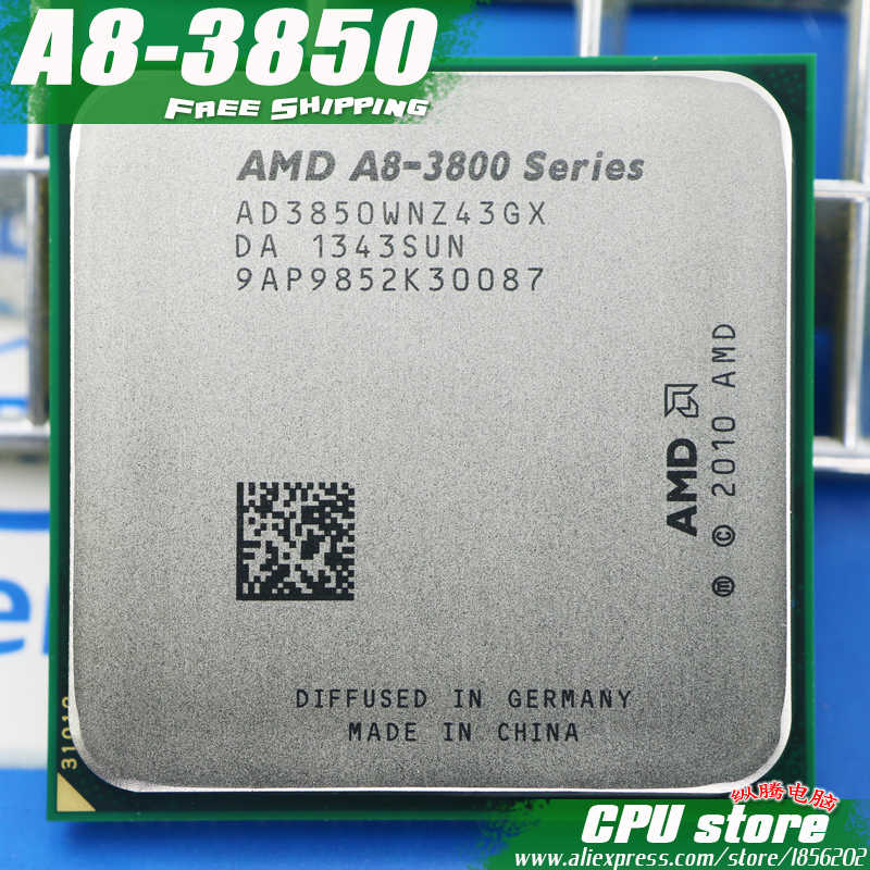 Free shipping AMD A8 3850 Quad-Core FM1 2 9GHz 4MB 100W CPU processor  pieces A8-3850 APU Integrated graphics, sell 3870 3870K