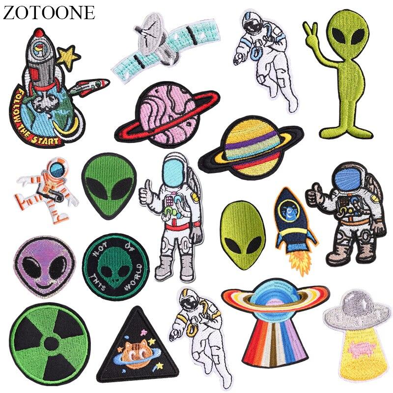 ZOTOONE-appliques de bricolage   Patchs dastronaute UFO Alien de fer pour vêtements, Patch dappliques de planète brodée pour sac à dos