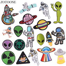 ZOTOONE Iron on UFO Alien Astronaut Patches for Clothes DIY Applique Embroidered Planet
