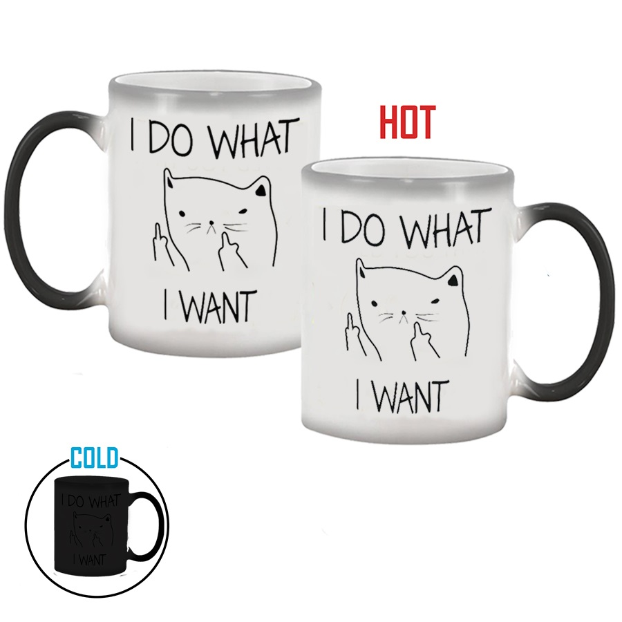 I DO WHAT I WANT Heat Sensitive Hot Cold Color Changing Mug Cup 350ml Coffee Tea Milk Mug Novelty Christmas Gifts