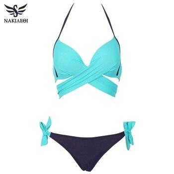 NAKIAEOI 2018 Sexy Bikini Women Swimsuit Push Up Swimwear Criss Cross Bandage Halter Bikini Set Beach Bathing Suit Swim Wear XXL 5