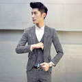 Men's suits England grid single buckle fashion business casual suit jacket Slim Large size (There is another pants vest Sold)