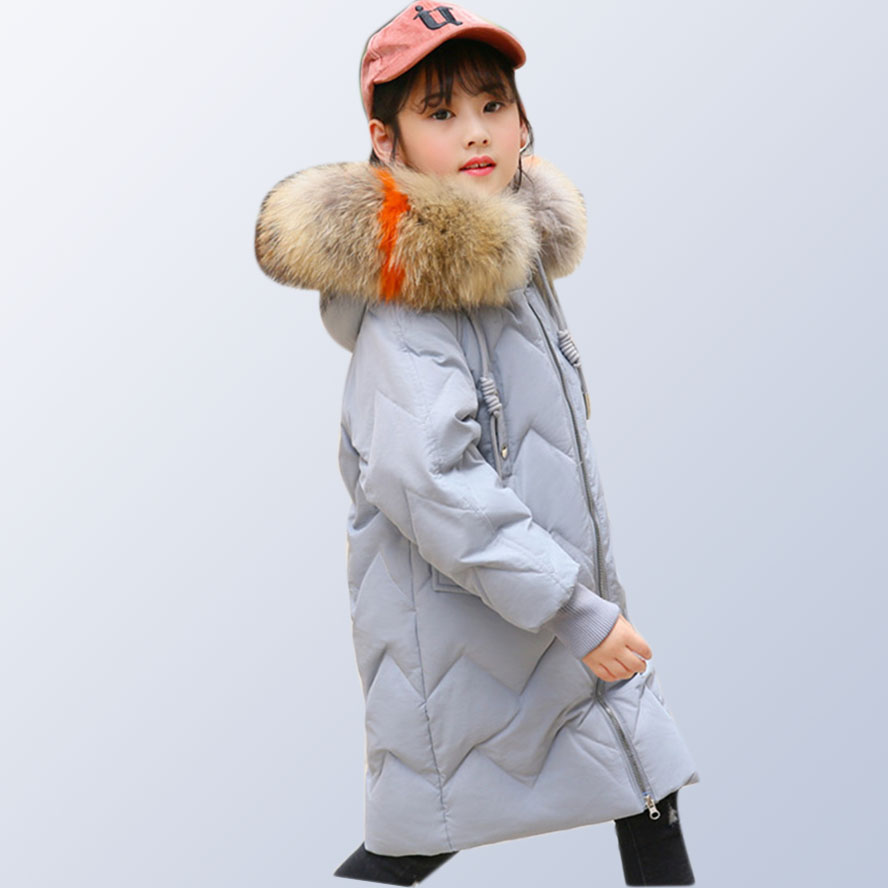 Teenage Girls down jacket 80% white duck down long thick children for -30 degree winter thickening colored fur size 6 7 10 12 14 australia new white goose down jacket female long thick knee thickening slim size winter coat