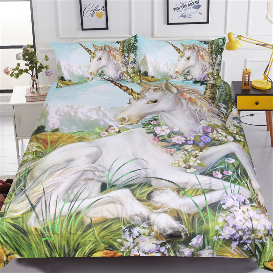 White horse bedding sets 3pcs 3d unicorn printed comforter cover king queen twin sizes girls kids duvet cover sets Home textileWhite horse bedding sets 3pcs 3d unicorn printed comforter cover king queen twin sizes girls kids duvet cover sets Home textile