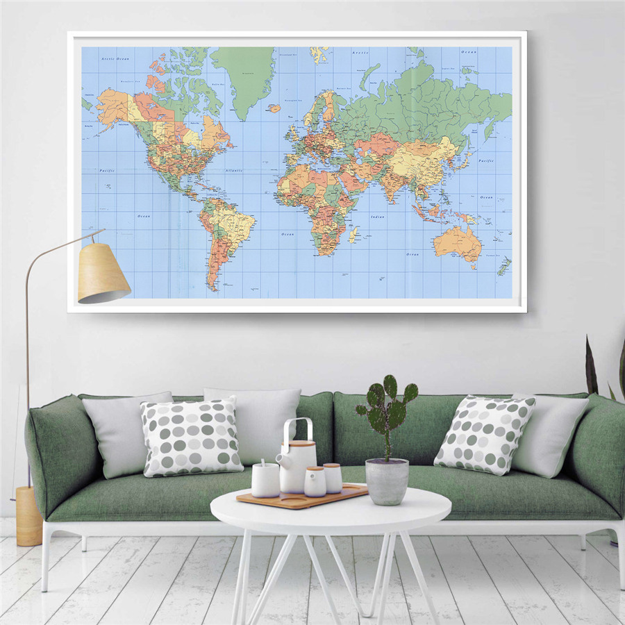 Aliexpress.com : Buy Colorful World Map Canvas Printing Vintage Map on