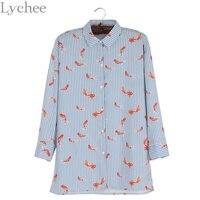 Spring Autumn Women Blouse Fish Print Stripe Turn Down Collar Long Sleeve Casual Loose Shirt Tops