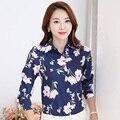 Floral Impresso Lady Moda OL Estilo Elegante Das Mulheres de Carreira Blusas Big Size S-4XL Branco Camisas de Manga Longa Roupas Casuais