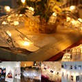 Gledto 20 Led Battery Warm White Photo Peg Clip Led Fairy String Light Xmas Bedroom DIY Clothespin Shapes LED String Light