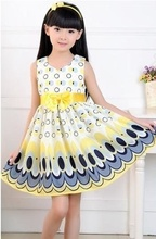 Unkids Kids Girls Dress cute peacock color sleeveless princess dress circle Korean Fashion Blue children's clothing