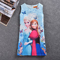 2017 summer Children girls Slim dress Sleeveless Printed ELSA Anna Butterfly Flower dresses girls  princess Formal dress