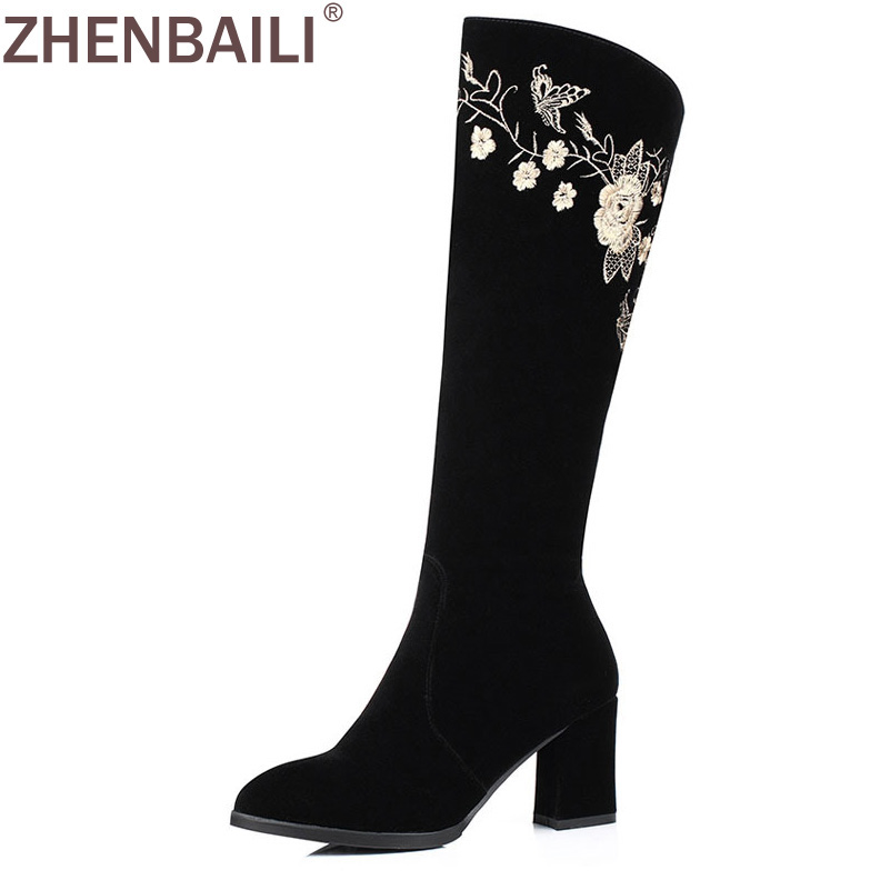 Black Embroider Knee High Boots 2017 Autumn Winter Fashion Flock Square High Heel Women Boots Warm Zipper Lady Snow Boots ravrry square heel solid knee high flock