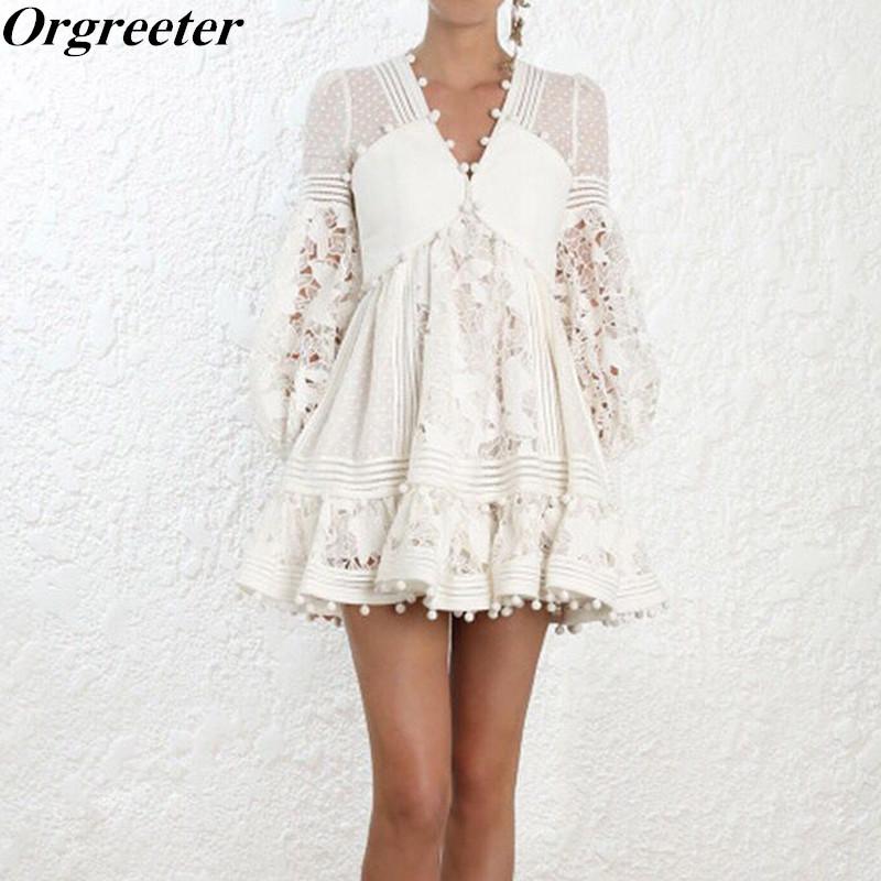 Sexy Hollow Out Patchwork Lace Dress 2018 New arrive White Lace Flower Dress Lantern Sleeve Sweet