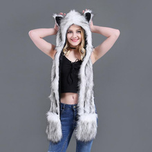Faux Fur Hood Animal Hat For Men Women Ear Flaps Hand Pockets Wolf Plush Warm Cap with Scarf Gloves H3