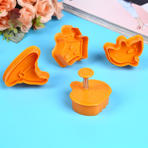 Image 2 - Bakeware 4pcs Halloween Theme Plunger Biscuit Mold Cutter plastic cookie cutter Biscuit Stamp Mould Fondant Tool Pastry  tools