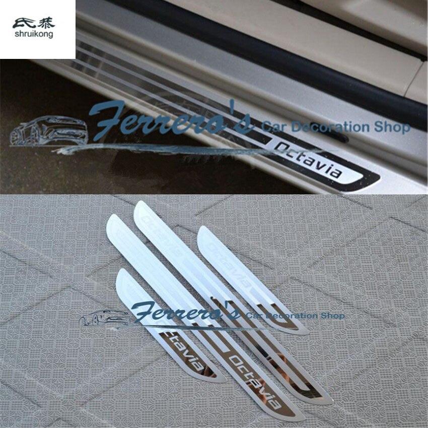 Para Skoda Octavia A5 A7 2007, 2008, 2009, 2010, 2011, 2012, 2013, 2014, bienvenido pedal puerta de acero inoxidable accesorios de coche