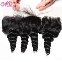 หลวม Wave Lace Fontal ปิด Peruvian Hair Extensions Mshere ผมสีดำธรรมชาติหูกับผมเด็กผม