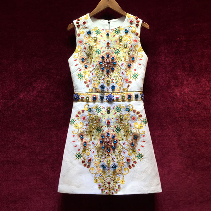 High Quality Women s Designer Runway Dresses European 2018 New Vintage Printing Heavy Diamonds Sleeveless Jacquard