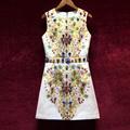 Высококачественное женское дизайнерское подиумное Европейское Новое винтажное жаккардовое платье без рукавов с тяжелыми бриллиантами