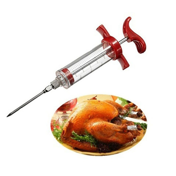 Hoomall Stainless Steel Needles Spice Syringe Marinade Injector Flavor Syringe Cooking Meat Poultry Turkey Chicken BBQ Tool
