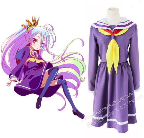 Shiro No Game No Life Cosplay Sora Costume Japanese Anime School Uniform Sailor Dress Fantasia Adult Women Halloween Costume